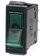 Hella Off-On Rocker Switch - Green Illuminated, 12V (4428)