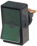 Hella Off-On Rocker Switch - Green Illuminated, 12V (4441)