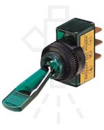Hella Off-On Toggle Switch - Green Illuminated, 12V (4434)